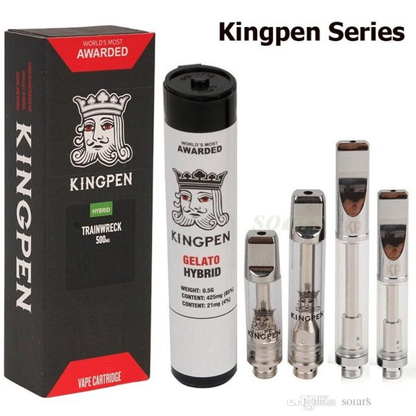 Newest 710 Kingpen Vape Cartridges Tube Box Package 0.5ml 1.0ml Cotton Ceramic Coil Glass Vape Tank 510 Atomizer with Flavor Stickers