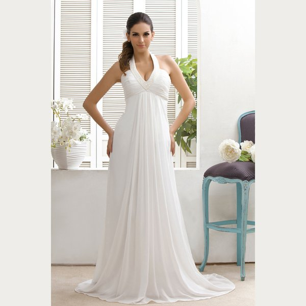 New Arrival Ivory Sheath Halter Chiffon Pleat Beaded V-Neck Mother of the Bride Dresses Sexy Backless Court Train Mother's Dresses