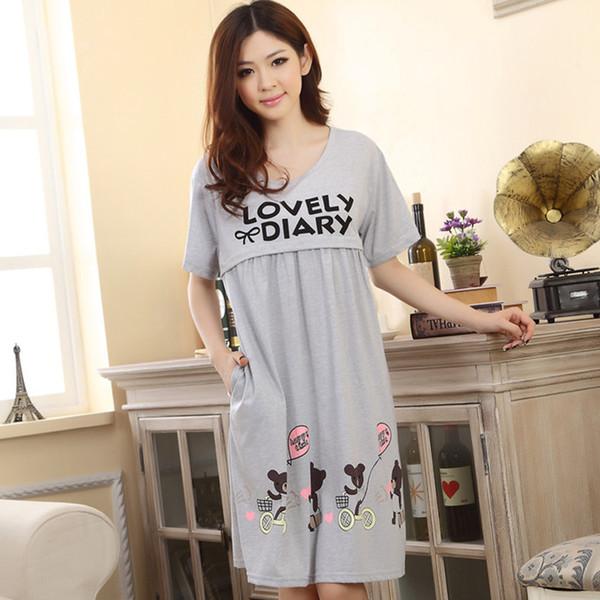 Pijamas de Enfermagem da maternidade Solto Confortável Roupas Para Mulheres Grávidas Bonito Dos Desenhos Animados Urso Mães Lactantes Roupas Pijamas