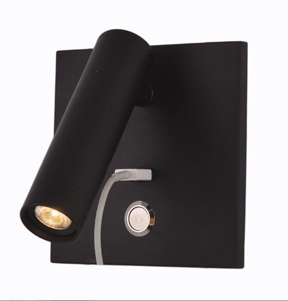 Лампа для чтения изголовья с USB-выходом 5 В 2.1A Лампа для чтения изголовья 2 Вт Cree LED 120lm Бра Бра Высокое Качество Для Отеля