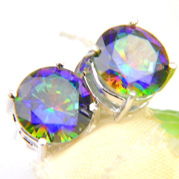 7e8540d2d 6 Pairs Luckyshine Gentle Round Shiny Colored Mystic Topaz Gems 925 Sterling  Silver Plated Stud Earrings