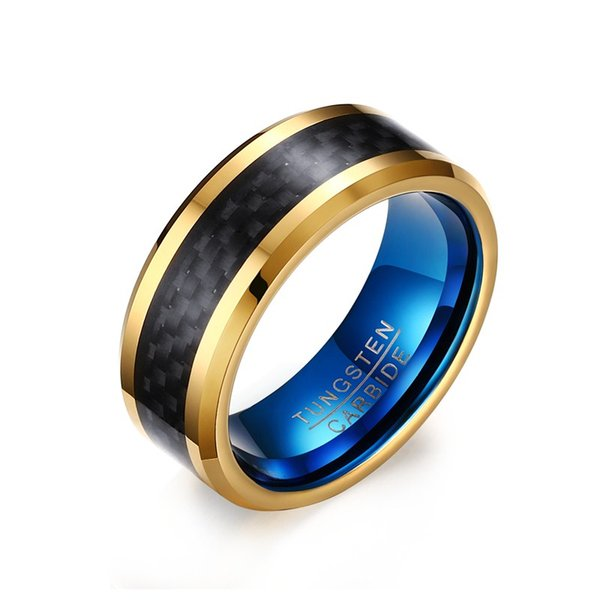 8mm Blue Gold Tungsten Carbide Wedding Band Black Carbon Fiber Inlay Polished Beveled Edges Anniversary Gift