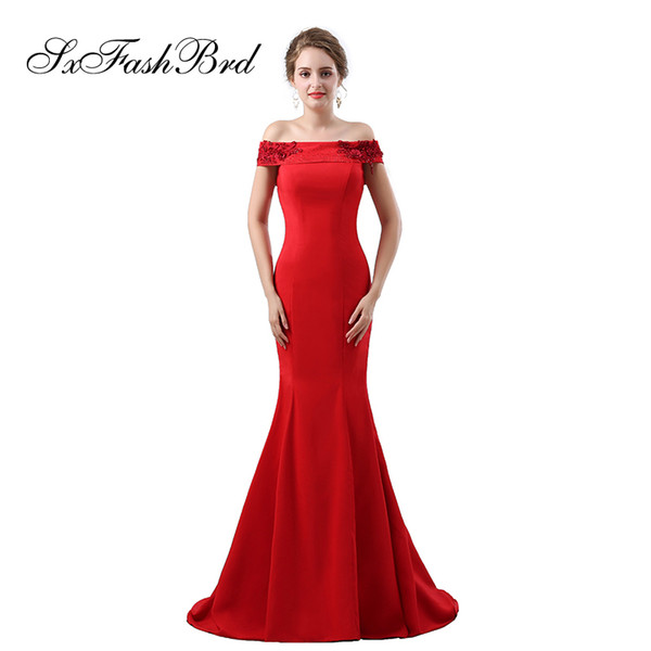 Fashion Elegant Girls Dress Boat Neck Short Sleeves Mermaid Satin Long Party Formal Evening Dresses for Women Prom Dress Gowns