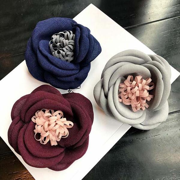 Fashion Handmade Fabric Ribbon Flower Bouquet Brooch Pins Elegance Women Suit Coat Accessories Brooch Jewelry