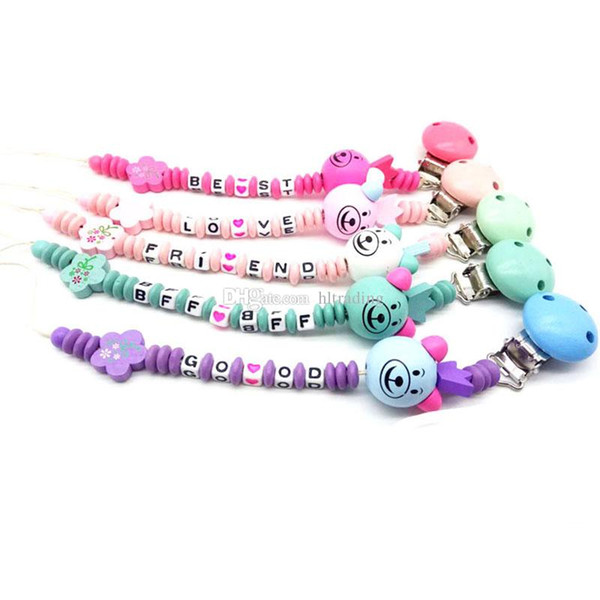 Newborn Pacifier clip Wool ball letter Beaded infant Nipple clip Baby carriage Lanyard Baby Clip Chain 9 colors C4862