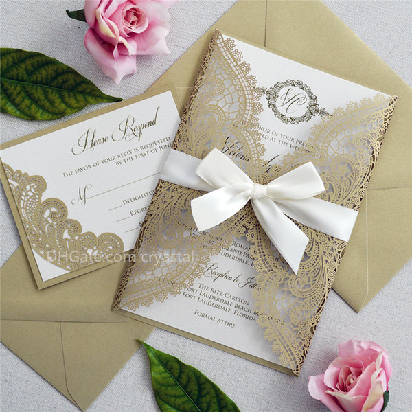 best selling GOLD CHANTILLY LACE Laser Cut Wrap Invitation - Elegant Laser Cut Wedding Invitation with Ivory Shimmer Insert and Ivory Ribbon Bow