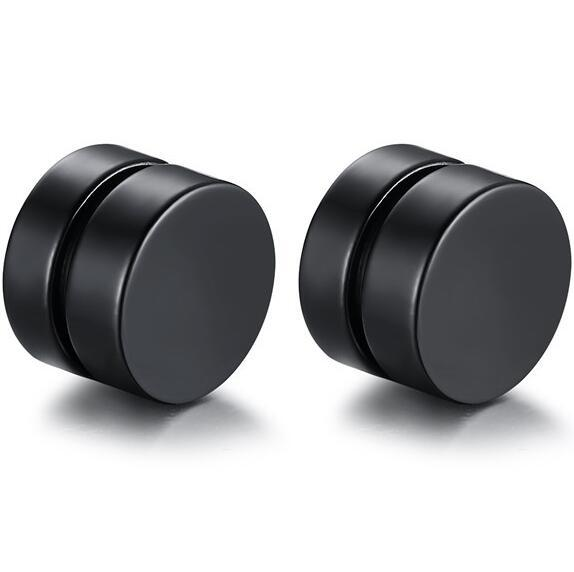 Magnetic Round Stud Earrings For Men Boy 316l Stainless Steel Magnet Ear Jewelry Don't Need Ear Canal