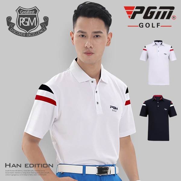 PGM Golf T-shirt For Men Breathable Summer Man's Sports T-shirt Anti-sweat Polyester Professional Golf Clothing Polo