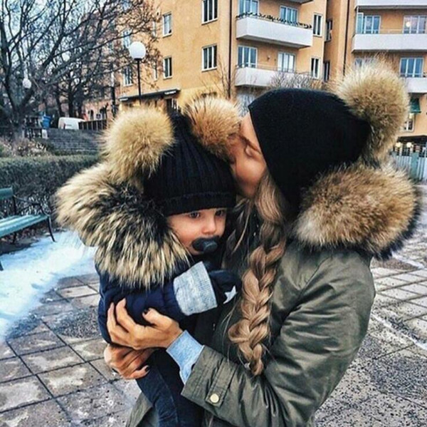 Fashion Parent-child Caps Cute Infant Baby Pompon Winter Hat Double Fur Ball Hat Mother Kids Warm Knitted Hat Newborn Beanie Cap Xmas Gift