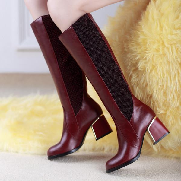 2018 New Patchwork Femmes Chaussures D'hiver Au Genou Bottes Haute Qualité En Cuir Marque Femmes Chaussures Laine Plush