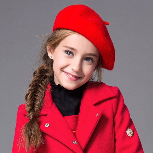Wholesale Fashion Kids Girls Hats Winter Autumn 2018 Solid Wool Warm Berets Red Princess Caps Round Top Children Girl Hat 15 Colors