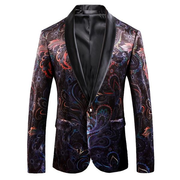 2018 Primavera Outono Moda Imprimir Homens Blazer Plus Size Blazers Men manga longa Turn Down Collar Hot Sale Blazer Masculina
