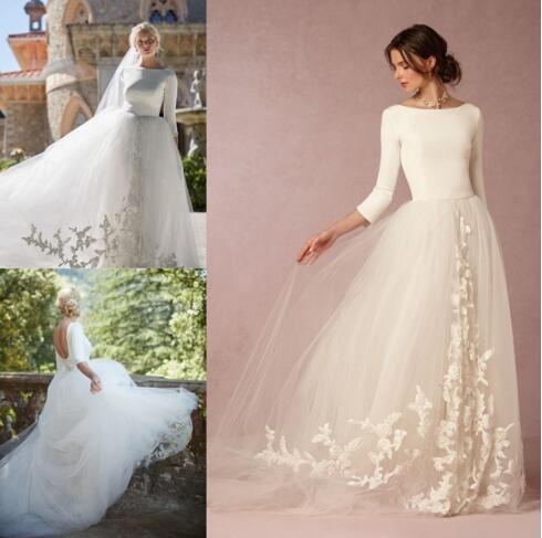 Modest Bohemian Beach Boho Wedding Dresses For Country Retro Brides A line Sexy Backless Graceful Bridal Gowns Long Sleeves