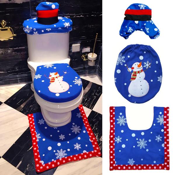 Europa banheiro 3 pcs boneco de neve tapetes de banheiro tapete de banheiro tapete de veludo tampa do vaso sanitário tapete almofada almofada tampa do tanque decoração de natal