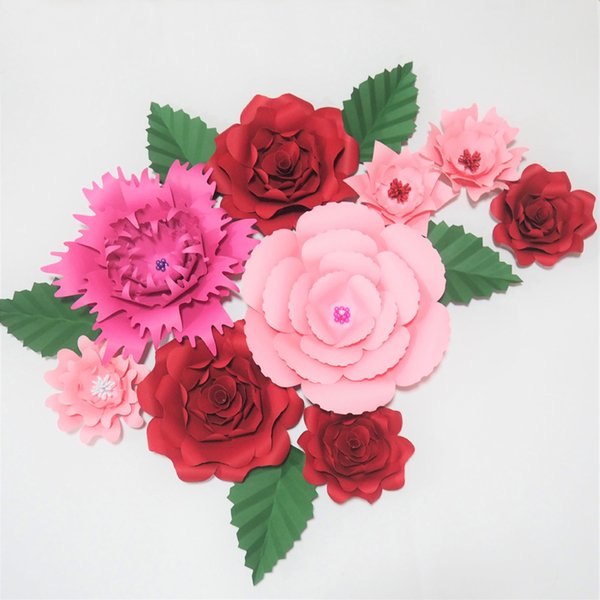 2019 Hot Mix Pink Red Artificial Giant Paper Flowers 5 Leaves Artificial Wedding Event Backdrops Table Deco Baby Nursery Shower From