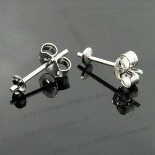 925 Sterling Silver Earrings Setting 3mm 5mm Stud Earring Post Cup Pin Pearl Setting Findings DIY Earrings Settings 2 Colors 10pair/lot