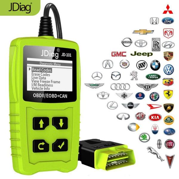 top popular JDiag JD101 Code Readers Engine Scan Tool Check Engine Light Car Diagnostic Tool OBD2 Scanner Automotriz With Battery Test 2019