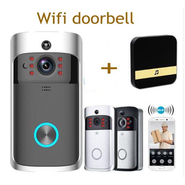 Akıllı WiFi Güvenlik video Kapı Zili Görsel Kayıt ile Düşük Güç Tüketimi Uzaktan Ev Izleme Gece Görüş Görüntülü Kapı Telefonu