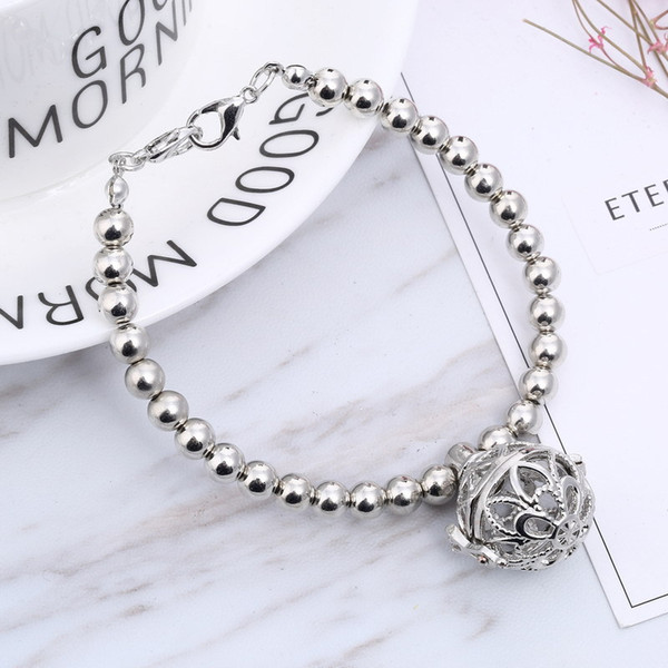 Essential Oil Diffuser Bracelets for Women Silver Plated Aromatherapy Diffuser Locket Charm Bracelets with Lava Rock