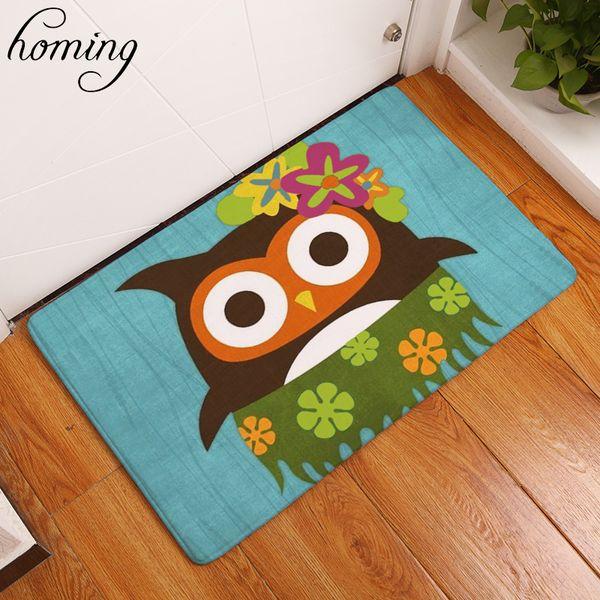 Homing Light Thin Durable Welcome Home Door Mats Cartoon Cute Hawaii Owl Pattern Carpets 40*60cm Soft Kids Bedroom Foot Pads