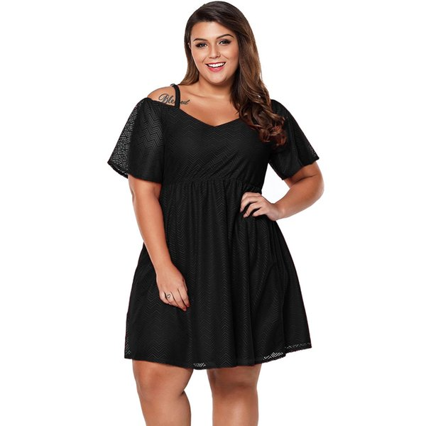 2019 The Eye Popping Chiffon On This Cold Shoulder Style Is Eye  Catching,Wholesale Textured Chiffon Cold Shoulder Plus Size Skater Dress  From Kikiboa, ...