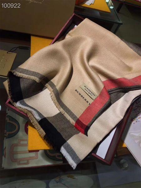 Marca de moda para mujer bufanda Bufandas marcas de diseño Bufanda de alta calidad Plaid Carta patrón de diseño bufanda