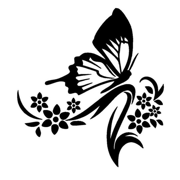 Flowers and butterfly fresh natural reflective vinyl car stickers laptop sticker CA418
