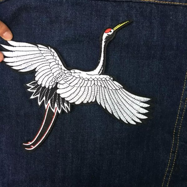 Right One or Left One Red-crowned Crane Bird Cloth Bag Shirt Pants Patch Embroidered Embroidery Sewing Iron on Patch 25*23cm