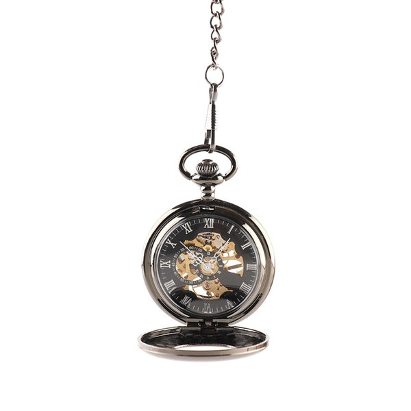 Retro Steampunk Skeleton Mechanical Fob Pocket Watch Clock Pendant With Necklace For Men Women Chain Gift High Quality