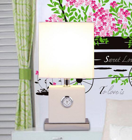 new arrive fabric≤ather led e27 table lamp modern fashion brief clock table lamp for living room bed room guest decor1789
