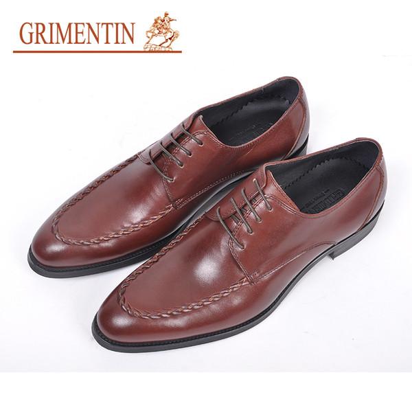 GRIMENTIN Venta Caliente Para Hombre Zapatos de Vestir Moda Italiana Hombres Oxford Zapatos de Cuero Genuino Negro Marrón Punta estrecha Formal de Negocios Zapatos Masculinos RC