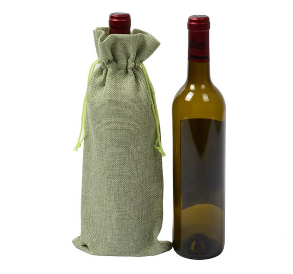 "150pcs Wine Bottle Bags 16cmx36cm (6.3""x 14"")Champagne Bottle Covers Linen Gift Pouches Burlap Hessian Packaging Bag"