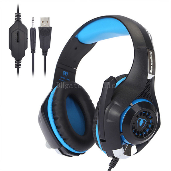 GM-1 headband noise reduction video game with microphone laptop headset with 3.5mm single plug LED lamp headset