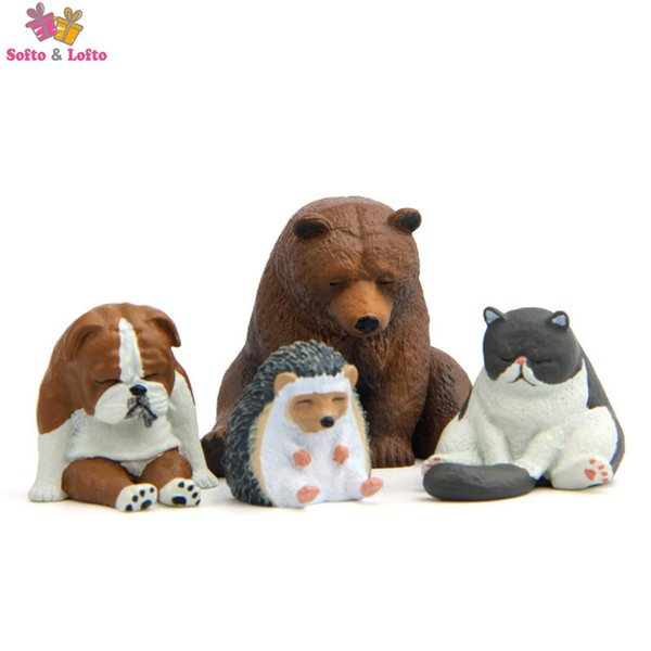 Freeshipping Cute Lazy Sitting Animal Fridge Magnet Figure toy Fun pet Dog Cat Bear Hedgehog car home office decor party gifts