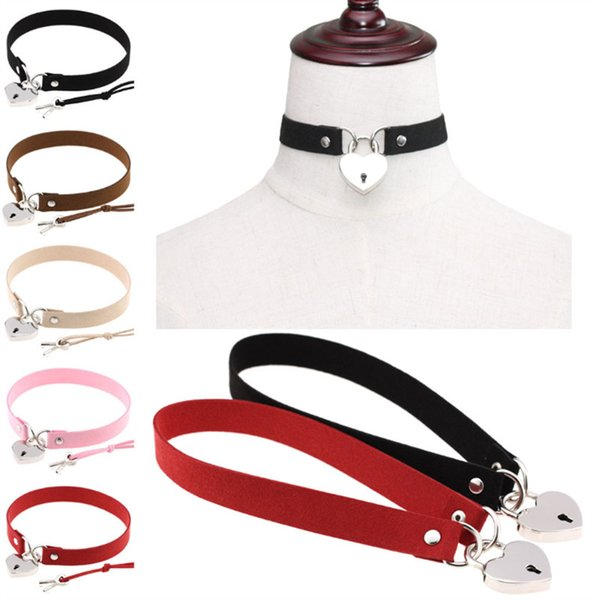 Contracted punk wind sexy appeal bound hearts love lock collar necklace neck clavicle necklace
