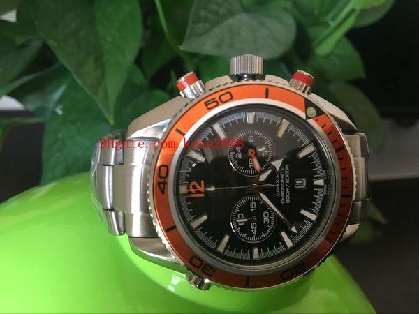 Orologi da uomo di alta qualità di lusso 232.32.46.51.01.001 45mm cinturino in ceramica arancione quadrante nero in acciaio inossidabile automatico meccanico orologi da uomo