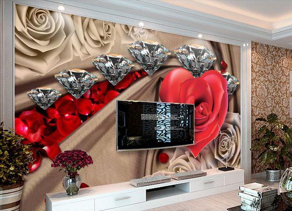 Benutzerdefinierte 3D Wallpaper Malerei Home Decor Wandmalereien Wohnzimmer Schlafzimmer Brick Wallpaper Romantische Diamant Rose Fototapete 3D