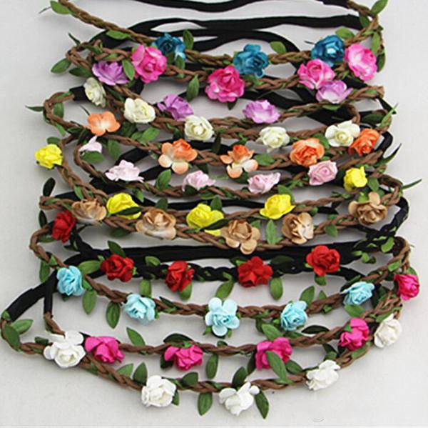 Venta caliente Novia Bohemia Flor Diadema Festival Boda Floral Garland Banda para el cabello Sombreros Accesorios para el cabello para Mujeres