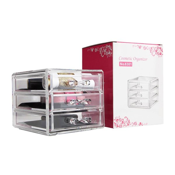 New Clear Acrylic Desktop Cosmetic Storage Organizer Box 3 Drawers Makeup Cases Easy to clean clear Storage drawer