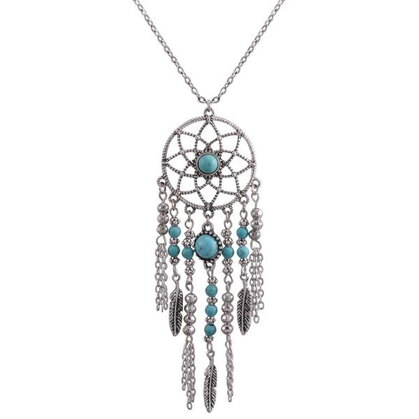 Nueva joyería de moda sueño Collar Estilo étnico Plumas con flecos Collares de turquesa Joyas de Bohemia con muestra extra gratis al azar