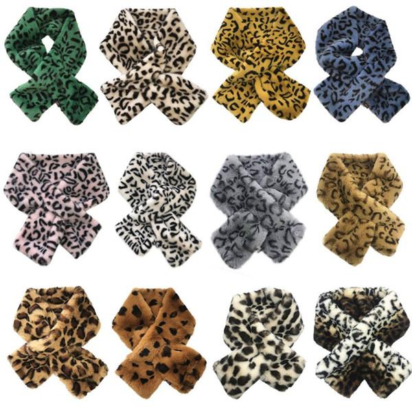 BELLYQUEEN 12x80 cm Women's Winter Warm Plush Faux Fur Scarfs Leopard Printed Collar Shawl Thickened Neck Warmer Shrugs