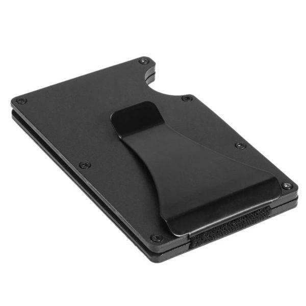 Aluminum Black Wallet Banknotes Money Clip Unisex ID Card Case Set Men Money Clip Wallet Purse for Pocket Metal Holders