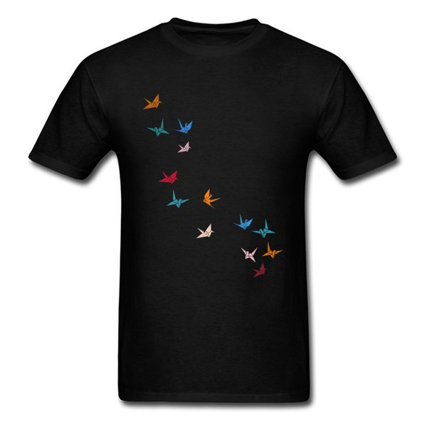 Flying Paper Cranes Birds Latest Student Top T Shirts Round Collar Short Sleeve Cotton Fabric Tops Shirts Printed Tee - Shirt
