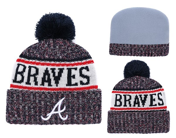 2018 New Sport Braves Baseball Skullies Hat Pom Cuffed Knitted Hats With Embroidered Team Logo Fans Fashion Atlanta Winter Women Beanies