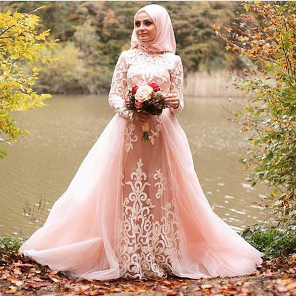 Elegant Long Sleeve Champagne Muslim Evening Formal Dresses 2018 Floor Length Arabic Formal Party Prom Dress For Dubai Style