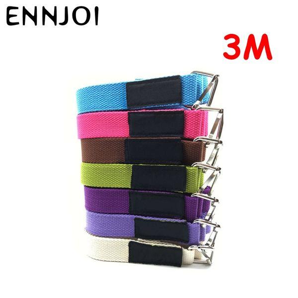 7 Colors Yoga Belt 3M Fitness Exercise Yoga Belt Strap Adjustable D-Ring Gym Waist Leg Fitness