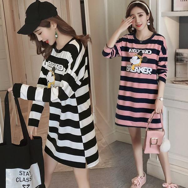 2018 spring new Korean fashion maternity cartoon print striped cotton large size pregnant women dress