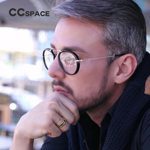 CCspace Men Aviator Eyeglasses Frame Vintage Eyeglasses Metal Temple Fashion Eyewear Optical SU112