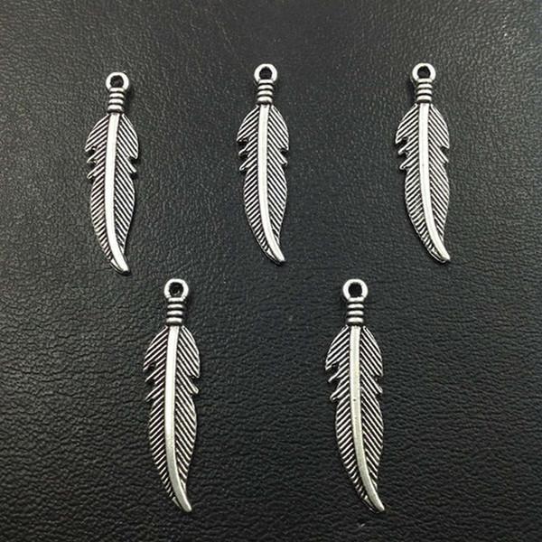 Hot Sale 100pcs Antique Silver Feather Leaves Charm Pendant Necklace&Bracelet Accessories Fashion Women Jewelry Wholesale Unique Gift