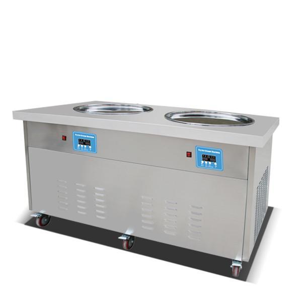 smart Thai fried ice cream roll machine double 50 cm pan commercial fry ice cream milk juice yoghurt rolled maker